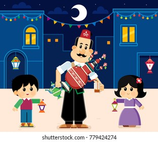 juice vendor , Ramadan kareem greeting card ,  kids carrying  lanterns