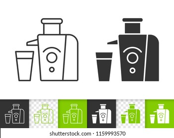 Juicer black linear and silhouette icons. Thin line sign of juice maker. Squeezer outline pictogram isolated on white, color, transparent background. Vector Icon shape. Juicer simple symbol closeup