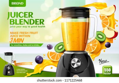 Juicer blender ads with splashing juice and fresh sliced fruits on bokeh kitchen background, 3d illustration