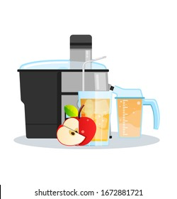 Juicer or blender for making juices and fruit cocktails. Apple juice in a glass and Apple sliced next to a Juicer.