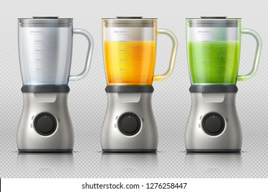 Juicer. Kitchen blender with orange and apple juice, drink mixer realistic vector isolated