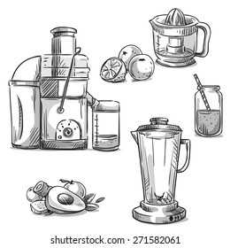 Juicers. Juicing machines. Blender. Healthy diet.