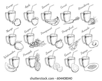 Juices collection. Vector hand drawn illustration. Isolated objects on white