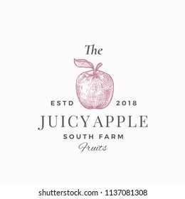 The Juicy Apple South Farm Fruits. Abstract Vector Sign, Symbol or Logo Template. Apple with Leaf Sillhouette Sketch with Elegant Retro Typography. Vintage Luxury Emblem. Isolated.
