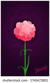 Juicy burgeon blossom of carnation. Just detailed and elegant one flower. Vector design