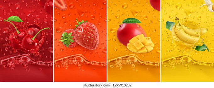 Juicy and fresh fruit. Cherry, strawberry, mango, banana. Dew drops and splash. 3d vector realistic set. High quality 50mb eps