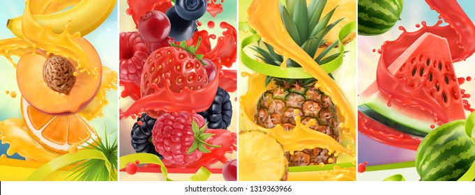 Juicy and fresh fruit. Peach, strawberry, raspberry, pineapple, watermelon. Juice splash. 3d vector realistic set. High quality 50mb eps