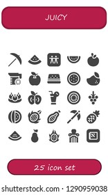 juicy icon set. 25 filled juicy icons. Simple modern icons about  - Pick, Watermelon, Apple, Juice, Mango, Bitterballen, Kiwi, Grapes, Dragon fruit, Papaya, Pineapple, Pear
