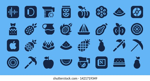 juicy icon set. 32 filled juicy icons. on blue background style Simple modern icons about  - Apple, Strawberry, Kiwi, Pineapple, Pick, Juice, Bitterballen, Lemonade, Dragon fruit