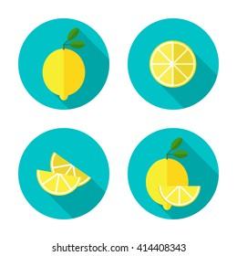 Juicy lemon with slice. Lemon slice flat vector illustration.