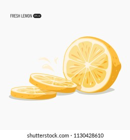 Juicy lemon vector. Vector illustration isolated on background.