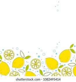 Juicy lemons with green leaves and water bubbles.