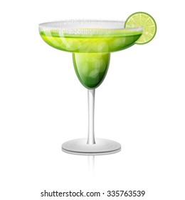 Juicy margarita drink cocktail in a rimmed class with a slice of lime fruit. Vector illustration.