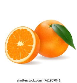 juicy orange, delicious fruit on white background in realistic style. Vector illustration.