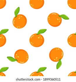 Juicy orange seamless pattern on white background vector for cards, banners, wrapping paper, posters, scrapbooking, pillow, cups and fabric design.