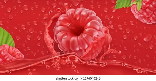 Juicy raspberry. 3d realistic vector