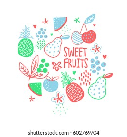 Juicy ripe sweet fruits. Vector set. Sweet background.
