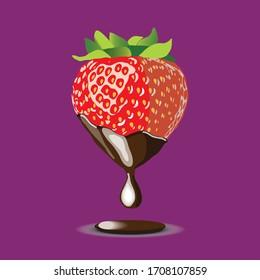 Juicy tasty realistic red strawberries