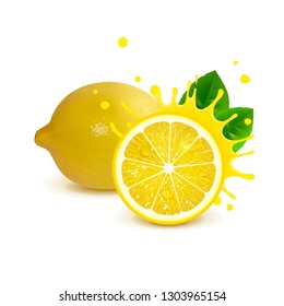 juicy whole lemon and half lemon on white background