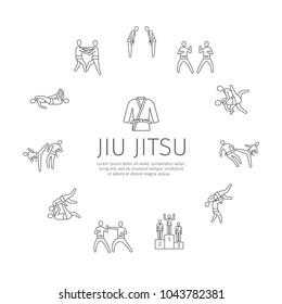 Jujutsu martial art line icons. Vector sports signs.