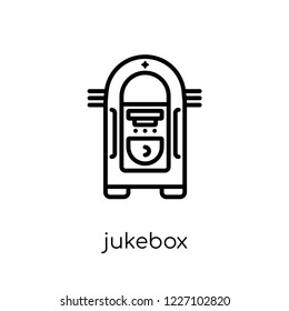 jukebox icon. Trendy modern flat linear vector jukebox icon on white background from thin line Birthday and Party collection, outline vector illustration