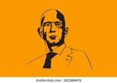 Jul, 2019: The famous entrepreneur, founder and the richest man Jeff Bezos vector portrait on a blue background. - Vector illustration