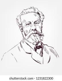 Jules Verne novelist sketch style vector portrait