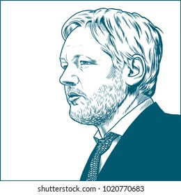 Julian Paul Assange.Vector Portrait Drawing Illustration. Febuary 09, 2018