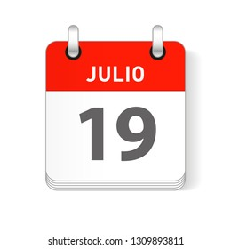 Julio 19, July 19 date visible on a page a day organizer calendar in spanish Language