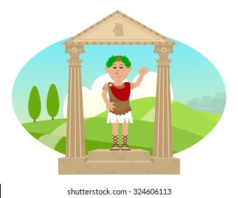 Julius Caesar - Cartoon of Julius Caesar standing on a pedestal and a landscape of ancient Rome in the background. Eps10