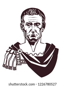 Julius Caesar Roman emperor bust front view vector illustration