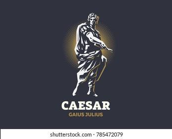 Julius Caesar. Vector emblem.
