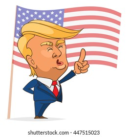 July. 05, 2016. Character portrait of Donald Trump giving a speech on white background