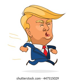 July. 05, 2016. The character portrait of Donald Trump running on white background