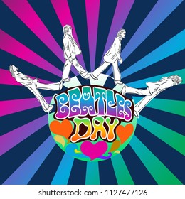 July 05, 2018: Hand drawn vector illustration of flyer with the Beatles members on psychedelic art with lettering background. for Beatles Day on July 10 topic.