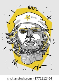 July 07, 2020:  Ernesto Che Guevara - modern sculpture. Hand drawn  vector illustration