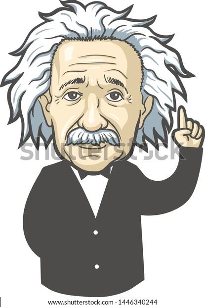 July 09, 2019: Portrait of Albert Einstein. Vector illustration. Editorial use only
