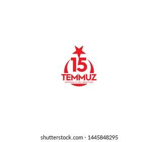 July 15, the day of democracy and national unity, (15 temmuz, demokrasi ve milli birlik gunu.) vector logo