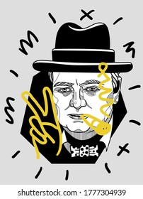 July 16, 2020: Crazy yellow vector illustration hand drawn. Winston Churchill show peace sign and smoke.