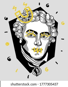 July 16, 2020: Crazy yellow vector illustration hand drawn. Michael Faraday.