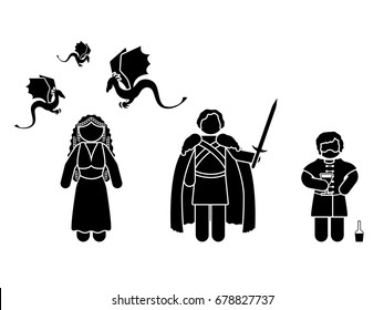 JULY 17, 2017: a vector illustration of figures of Tyrion Lannister, Daenerys Targaryen and Jon Snow from Game of Thrones television series on a wtite background