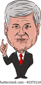 """JULY 18, 2016: Illustration of Newton Leroy """"Newt"""" Gingrich, American political consultant and former Republican congressman of Georgia, USA viewed from front on isolated background cartoon style."""