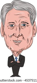 JULY 18, 2016:Caricature illustration of Philip Anthony Hammond PC MP, British Conservative politician and Chancellor of the Exchequer facing front done in cartoon style on isolated background.
