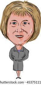 JULY 18, 2016:Caricature illustration of Theresa Mary May, Prime Minister of the United Kingdom and Leader of the Conservative Party facing front done in cartoon style.