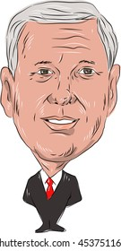 JULY 18, 2016:Illustration of Michael Richard Mike Pence, American politician, Governor of Indiana and Republican Party nominee for Vice President of United Sates of America  done in cartoon style.
