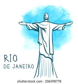 July 19, 2014: Rio De Janeiro and Christ the Redeemer, Brazil. World famous landmark series:  watercolor vector illustration