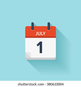 July  1.Calendar icon.Vector illustration,flat style.Date,day of month:Sunday,Monday,Tuesday,Wednesday,Thursday,Friday,Saturday.Weekend,red letter day.Calendar for 2017 year.Holidays in July.