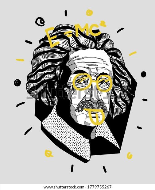 July 20, 2020: Crazy yellow vector illustration hand drawn. Albert Einstein.