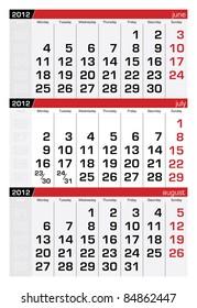 July 2012 Three-Month Calendar