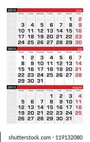 July 2013 Three-Month Calendar